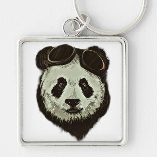 Panda Bear Silver-Colored Square Key Ring