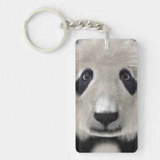 Panda Bear Single-Sided Rectangular Acrylic Key Ring