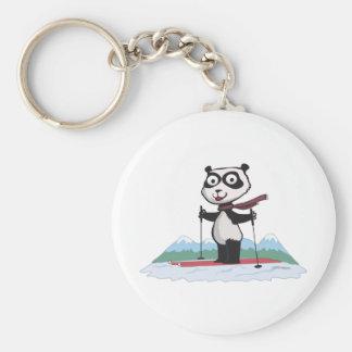 Panda Bear Skiing Key Ring