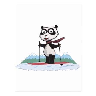Panda Bear Skiing Postcard