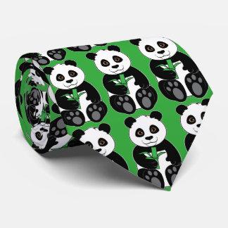 Panda Bear Snacking on Bamboo Tie