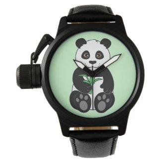 Panda Bear Snacking on Bamboo Wrist Watch