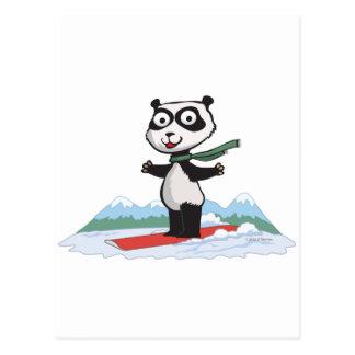 Panda Bear Snowboarder Postcard