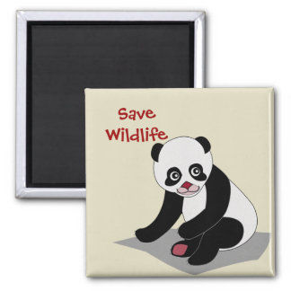 Panda Bear Square Magnet