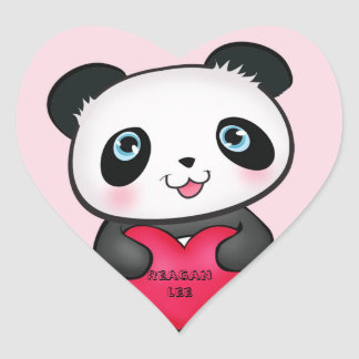 Panda Bear Sticker holding a personalized heart