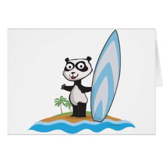 Panda Bear Surfer Greeting Card