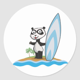 Panda Bear Surfer Classic Round Sticker