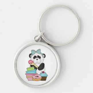 Panda Bear Sweet Treats Silver-Colored Round Key Ring
