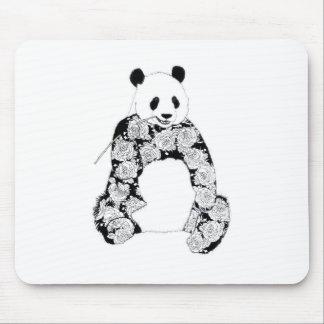 Panda Bear Tattoo Roses Pattern Mouse Pad