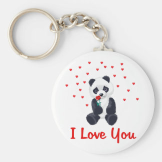 Panda Bear Valentine Basic Round Button Key Ring