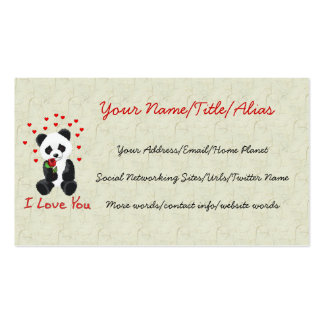 Panda Bear Valentine Double-Sided Standard Business Cards (Pack Of 100)