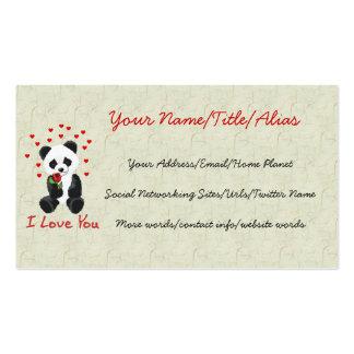 Panda Bear Valentine Pack Of Standard Business Cards