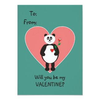 "Panda Bear Valentine for Kids 4.5"" X 6.25"" Invitation Card"