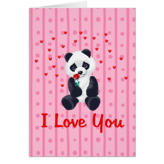Panda Bear Valentine Greeting Card