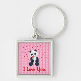 Panda Bear Valentine Silver-Colored Square Key Ring