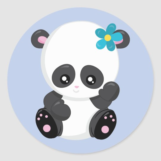 Panda Bear Wave Blue Classic Round Sticker