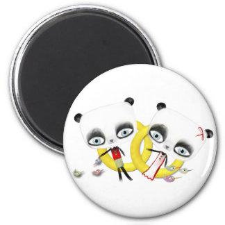 Panda Bear Wedding Cute Rings birds Magnet