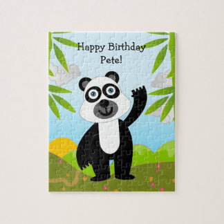 Panda bear wishing Happy Birthday Jigsaw Puzzle