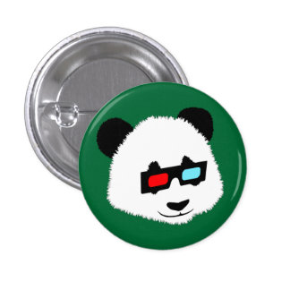 Panda Bear with 3D Glasses 3 Cm Round Badge