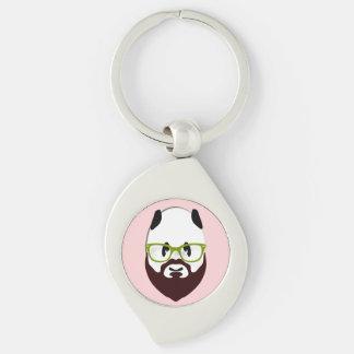 Panda Bear with a Beard Keychains