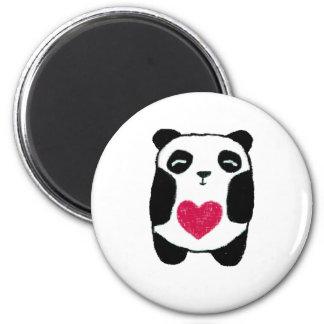 Panda Bear with a heart magnet