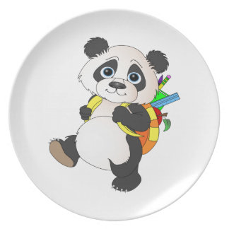 Panda Bear with backpack Plate