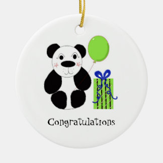 Panda Bear with Balloon Congratulations Round Ceramic Decoration