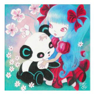 Panda Bear with Kawaii Girl Acrylic Print