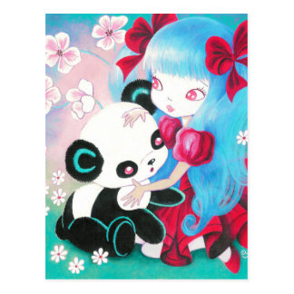 Panda Bear with Kawaii Girl Postcard