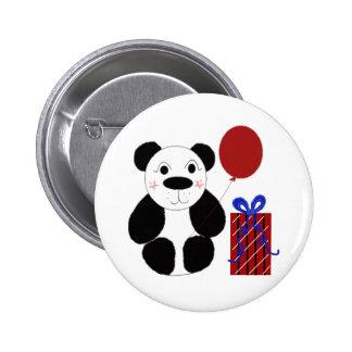 Panda Bear with Red Balloon 6 Cm Round Badge