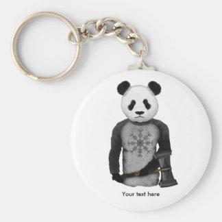 Panda Bear With Thor's Hammer Basic Round Button Key Ring
