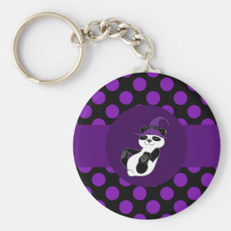 Panda Bear with Witch Hat & Purple Dots Basic Round Button Key Ring