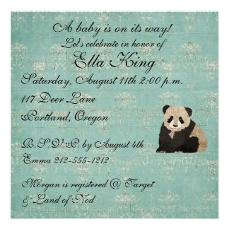 Panda Bears Baby Invitation