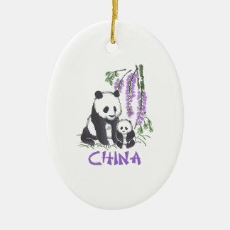 Panda Bears China Ceramic Oval Decoration