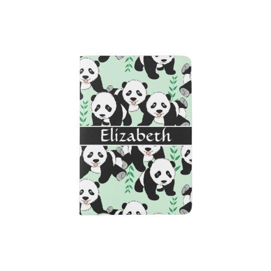 Panda Bears Graphic Pattern to Personalise Passport Holder
