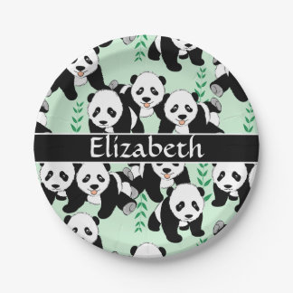 Panda Bears Graphic Pattern to Personalize 7 Inch Paper Plate