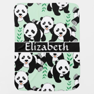 Panda Bears Graphic Pattern to Personalize Baby Blankets