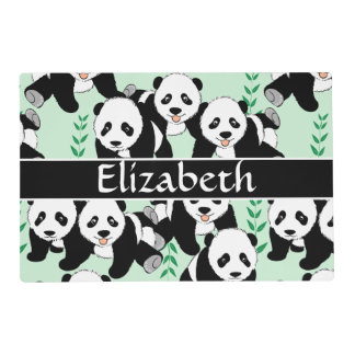 Panda Bears Graphic Pattern to Personalize Laminated Placemat