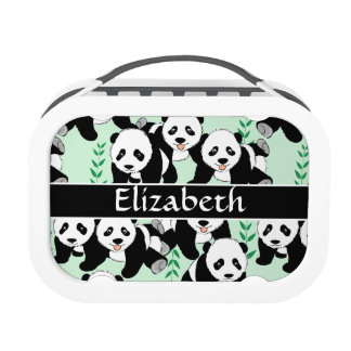 Panda Bears Graphic Pattern to Personalize Lunch Box