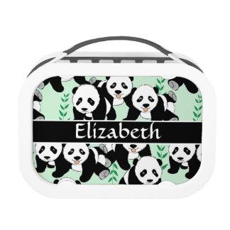 Panda Bears Graphic Pattern to Personalize Yubo Lunch Box