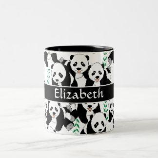 Panda Bears Graphic Pattern to Personalize Two-Tone Mug
