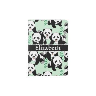 Panda Bears Graphic Pattern to Personalize Passport Holder