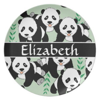 Panda Bears Graphic Pattern to Personalize Dinner Plates