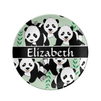 Panda Bears Graphic Pattern to Personalize Porcelain Plates