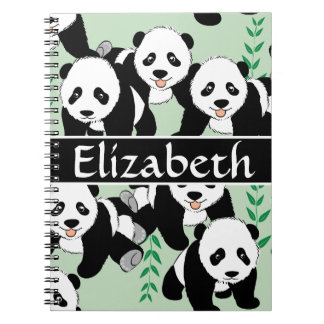 Panda Bears Graphic Pattern to Personalize Spiral Notebook
