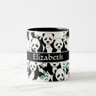 Panda Bears Graphic Pattern to Personalize Two-Tone Coffee Mug