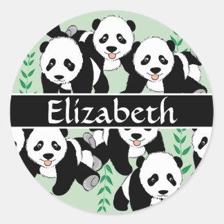 Panda Bears Graphic Personalized Round Sticker