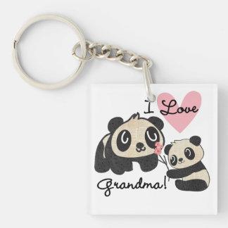 Panda Bears I Love Grandma Double-Sided Square Acrylic Key Ring