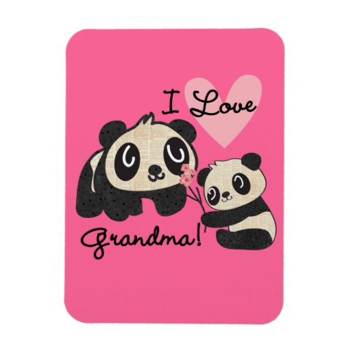 Panda Bears I Love Grandma Rectangular Magnet