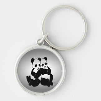 Panda Bears Silver-Colored Round Key Ring